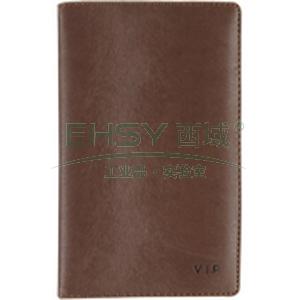 齐心卡片册, A7881 VIP 便携式皮面 72枚/盒 黑/咖啡色