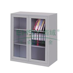 玻璃开门柜,900(W)x400(D)x900(H) 灰白