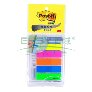3M Post-it®指示标签,17片×5色 全彩11mmX44mm 687-5