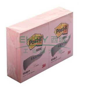 3M Post-it® 便条纸,合宜系列 654B-P 粉色 100页/本 72*76mm 办公装,单位:包