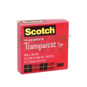 "3M Scotch®胶带,600 高效透明胶带 1/2""*33M"