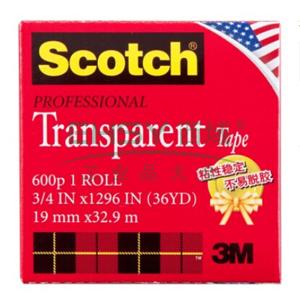3M Scotch®胶带,600 高效透明胶带 3/4英寸*33M
