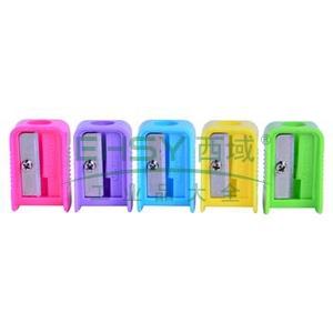 晨光 M&G 单孔塑料卷笔刀 APS91211 (红、黄、蓝、绿、紫,颜色随机) 50个/盒