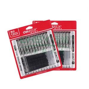 得力中性笔,6608 12支+12芯/卡