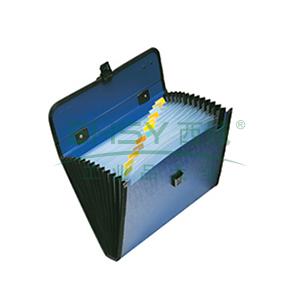 齐心 KF412TJ 易分类手提式风琴包 A4 12格 蓝