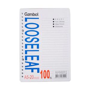 渡边 A5 20孔 100页活页纸 LL1101(100本/箱)