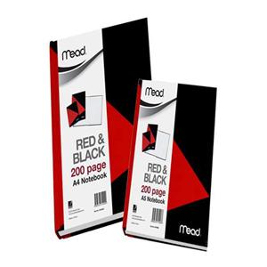 美德  M18962 红黑色硬面胶状本  A5/200页