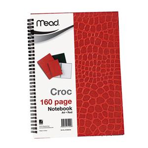 美德  M1865103 鳄鱼皮面螺旋本   A4/160页  红色