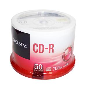 索尼 CD-R 索尼 700MB/48X(50片筒装) 银色  一次性刻录光盘