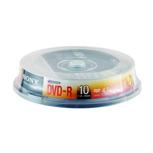 索尼 4.7G/16X DVD-R光盘 (10片筒装)