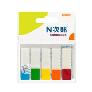 "N次贴 34032 塑料透明5色标头标签 2""×0.5"""