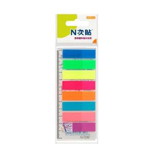 """N次贴 34021 塑料透明8色荧光标签 2""""×0.5"""""""