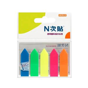 """N次贴 34015 塑料透明5色箭头荧光标签 2""""×0.5"""""""