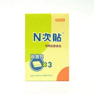 """N次贴 32012 超傎包便条纸 3本/包 3""""×2"""" 黄色"""