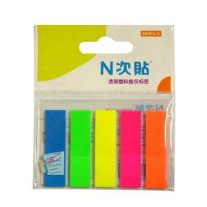 """N次贴 34013 塑料透明5色荧光标签 2""""×0.5"""""""