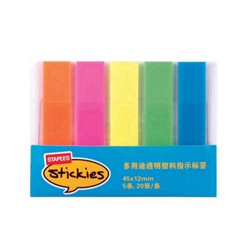 """史泰博 1118 多用途透明塑料5色荧光指示标签 2""""×0.5"""",20张/条"""