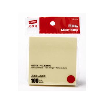 史泰博 SN1003 百事贴100张/包 76*76 黄色