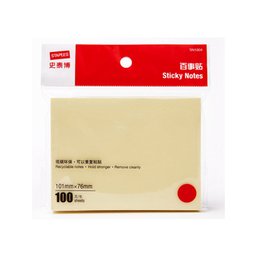 史泰博 SN1004 百事贴100张/包 76*101 黄色