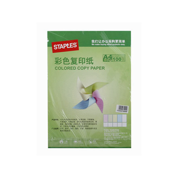 史泰博80G进口彩色复印纸,100张/包 A4 绿色 单位:包