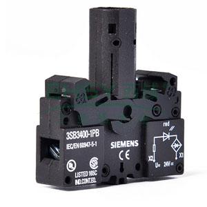 西门子 按钮指示灯灯座带集成LED,3SB3400-1PB 红色