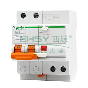 施耐德 Easy9微型漏电保护断路器 2P C16A/30mA/AC类 ,EA9RN2C1630C