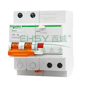 施耐德 Easy9微型漏电保护断路器 2P C25A/30mA/AC类 ,EA9RN2C2530C