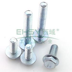 六角法兰面螺栓,碳钢 蓝白锌 8.8级 全牙ISO4162 M8X30,100个/包
