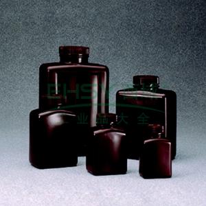 NALGENE琥珀色矩形瓶,琥珀色高密度聚乙烯,1000ml容量