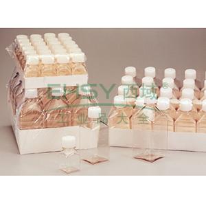 NALGENE未灭菌,PETG方形有刻度培养基瓶,带盖,聚对苯二酸乙二醇酯共聚物,天然高密度聚乙烯盖,125毫升容量,每箱96
