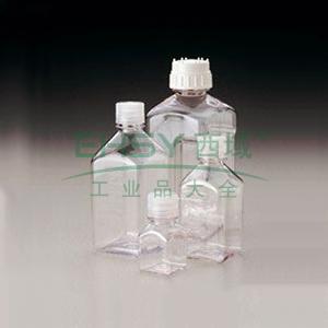NALGENE无菌,PETG 方形有刻度培养基瓶,带盖,聚对苯二酸乙二醇酯共聚物,天然高密度聚乙烯盖,30毫升容量,每箱280