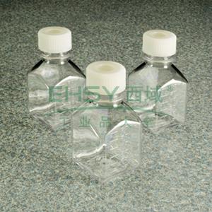 NALGENE无菌,方形有刻度培养基瓶,带隔膜盖,聚对苯二酸乙二醇酯共聚物,天然高密度聚乙烯盖,硅胶/PTFE隔膜,125毫升容量,每箱96