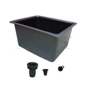 水槽,PP,大型,内径:485x380x300mm,灰色
