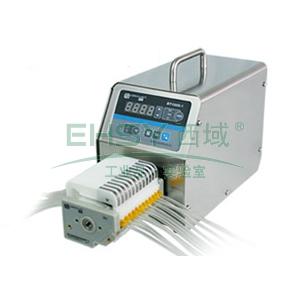 基本调速型蠕动泵,BT100S-1泵头DG6-12(6滚轮),单通道流量(毫升/分钟)0.00016~49,通道数量12