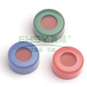 已认证的蓝色螺口盖,含PTFE/红色硅橡胶隔垫,100/包