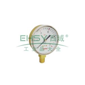 """捷锐压力表 G25B-0.25MA,2.5""""铜壳,0.25MPa,乙炔专用"""