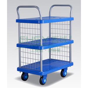 全静音三层双扶手带护栏手推书车,铁支架轮,250KG