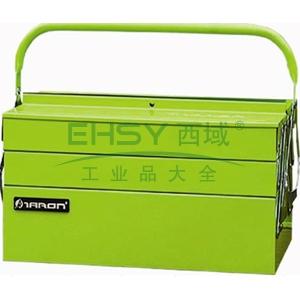 便携式钢制工具箱,绿色(单把手外翻式)