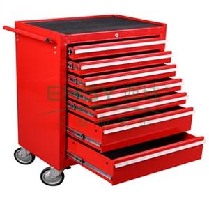 工业级组合工具车,7抽屉,红色