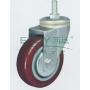 申牌 3寸聚氨酯中型脚轮,丝杆活动M12 载重(kg):105 轮宽(mm):30 全高(mm):111,20A04-1014