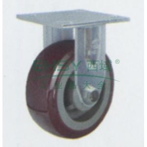 6寸塑芯聚氨酯重型脚轮,平底固定,载重(kg):350,轮宽(mm):50,全高(mm):190