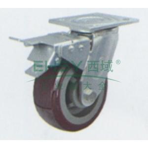 6寸塑芯聚氨酯重型脚轮,平底刹车,载重(kg):350,轮宽(mm):50,全高(mm):190