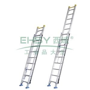 铝合金单面伸缩梯,全长:8.04m,缩长:4.83m,自重:22.7kg