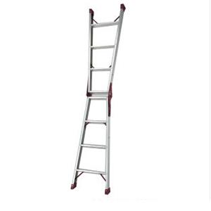 专业两用梯,(人字梯兼用直梯)(双侧宽幅踏步60mm)梯全长:2.37m 缩长:1.10m 重量:5.7kg