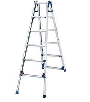 四脚调节式两用梯,(人字梯兼用直梯)(双侧宽幅踏步55mm)梯全长:3.85-4.49m 缩长:1.82-2.13m 重量:10.0kg