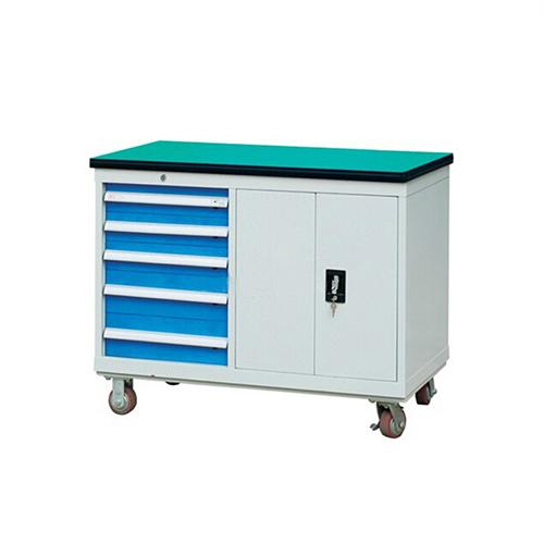30mm绿色复合桌面工具车, 1150W*600D*880H 1层层板5个抽屉