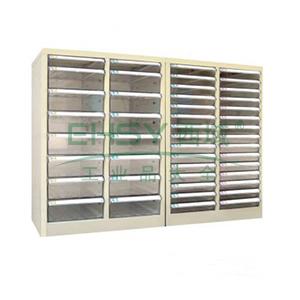 零件柜,680*280*990mm,框架深灰,门米黄,透明盒