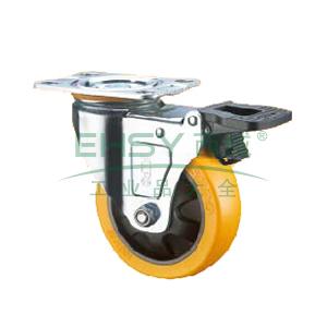 SUPO 03S款镀锌5寸平底双刹特尔灵橙色PU轮 Z03S-01D-125-223