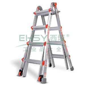多功能复合梯 载重136kg 4节x3级 站人高人字梯0.91/直梯2.44m
