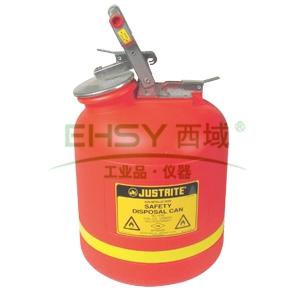JUSTRITE 聚乙烯罐,带不锈钢钢件聚乙烯罐,19L,红色,14765Z