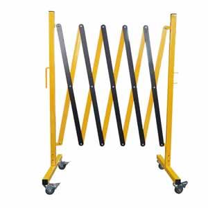 安赛瑞 移动式伸缩围栏,铁材质,黄黑条纹,自带滚轮,高950mm,长范围220-2500mm,14473